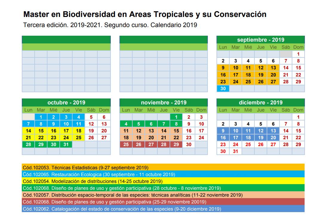 Calendario del Máster Tercera edición Segundo Curso 2019